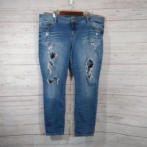 Torrid distressed shredded skinny jeans